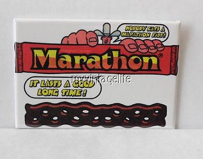"Vintage MARATHON CANDY BAR 2"" x 3"" Fridge MAGNET Art NOSTALGIC"