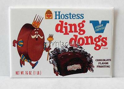 "Vintage HOSTESS DING DONGS SNACKS 2"" x 3"" Fridge MAGNET Art NOSTALGIC"