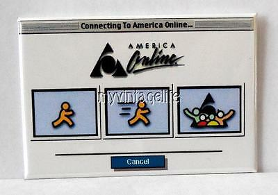 "Vintage AOL AMERICA ONLINE COMPUTER LOG ON 2"" x 3"" Fridge MAGNET Art NOSTALGIC"