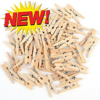100 Mini Small Natural Wooden Craft Pegs Clothes Paper Photo Hanging Spring Clip