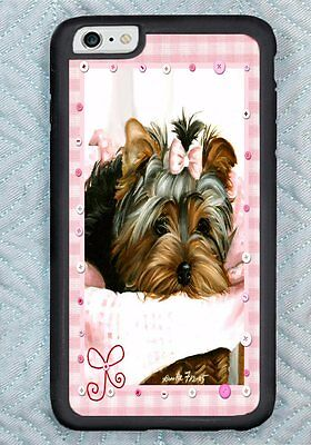 iPHONE 6 YORKIE pink gingham dog COVER case ART painting RUBBER