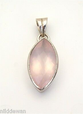 Sterling Silver Rose Quartz Faceted Pendant Jewellery No.3177
