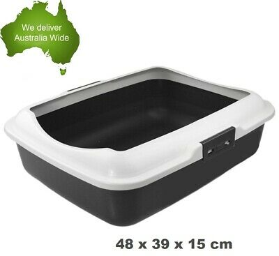Portable Hooded Cat Kitty Toilet Litter Tray Pet Pan New VIC Clean VIC w/Rim
