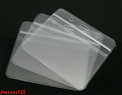 10 PCs Clear Plastic Horizontal ID Card Holder with ZIPPER ***AUSSIE SELLER***