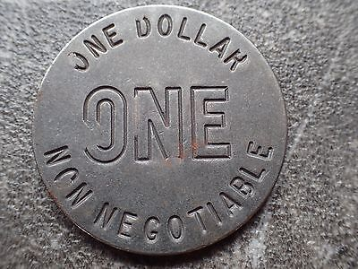 Steel One Dollar $1 Non Negotiable Slot Machine Token!
