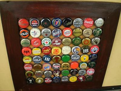 Vintage Beer bottle caps framed collectable man cave assorted caps Coopers etc