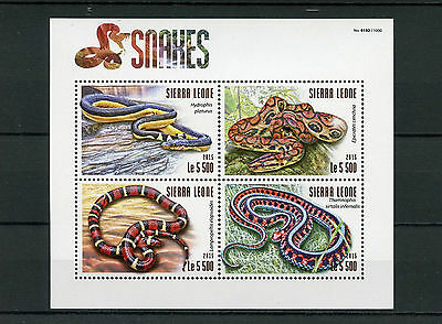 Sierra Leone 2015 MNH Snakes 4v M/S Reptiles Yellow-bellied Sea Snake Boa Stamps
