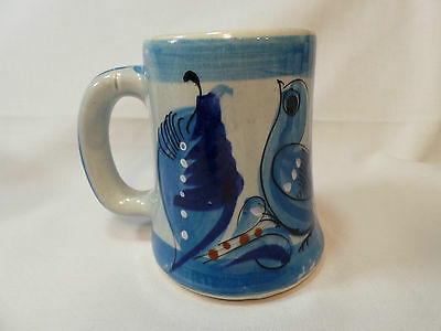 RARE MEXICAN VINTAGE ART POTTERY TONALA BLUE BIRD Large Coffee Cup Mug EUC