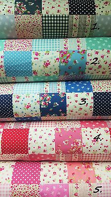Floral SQUARES 100% Cotton Poplin Fabric Quilting Bunting grey blue Rose & Hubb