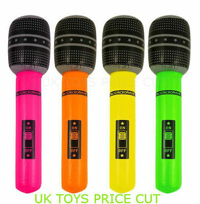 4 X Inflatable Blow Up MicroPhone Fancy Dress Party Prop Musical Disco 40 cm