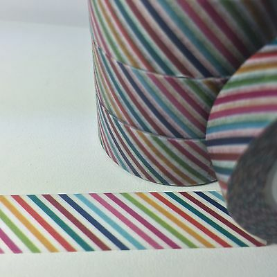 Washi Tape Rainbow Thin Diagonal Stripe 15Mm Wide X 10Mtr Roll Scrap Plan Craft