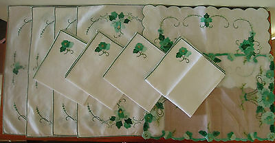 10 Piece Embroidered Table Setting Placemats, Napkins etc