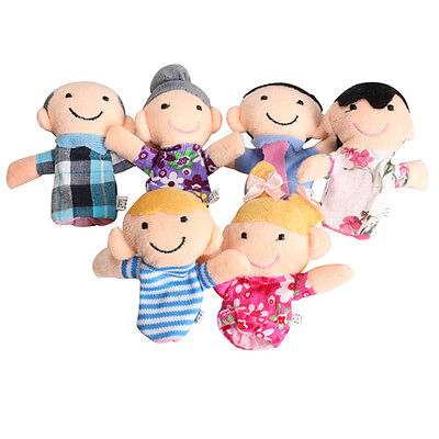6Pcs Family Finger Puppets Plush Doll Baby Educational Hand Toy Story Kid Games