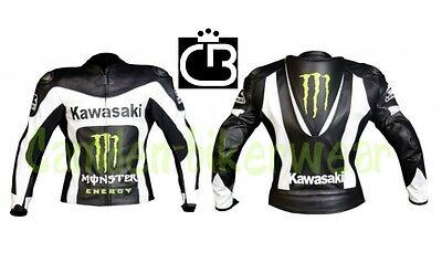 Kawasaki Professional Motorbike Racing coat Leather Jacket Jacke Veste All Sizes