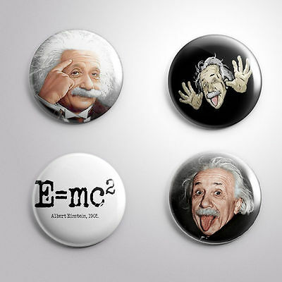 4  ALBERT EINSTEIN  E=MC2 GENIUS RELATIVITY - Pinbacks Badge Button 25mm 1''