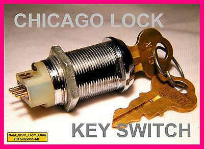 ALARM SYSTEM KEY SWITCH (CHICAGO LOCK) MAINTAINED with TWO-KEYS, SPDT, SOLDER