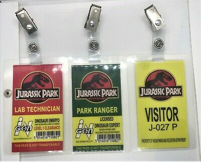 Jurassic Park - Park Ranger Lab Technician Visitor Prop ID Badge ALL 3 Bundle