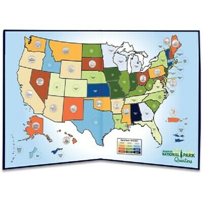 US Quarters Display Map America The Beautiful State National Park Gift Holder
