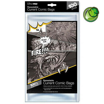 Ultra Pro Current Size Resealable Acid-Free Comic Bags - Qty 100