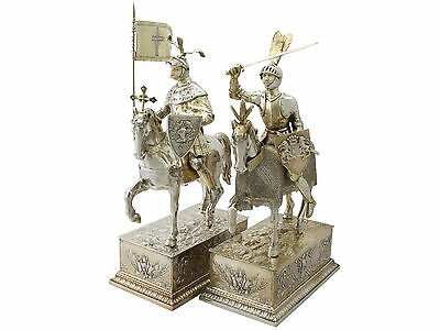 Pair of German Silver Table Knights on Horseback - Antique Circa 1910