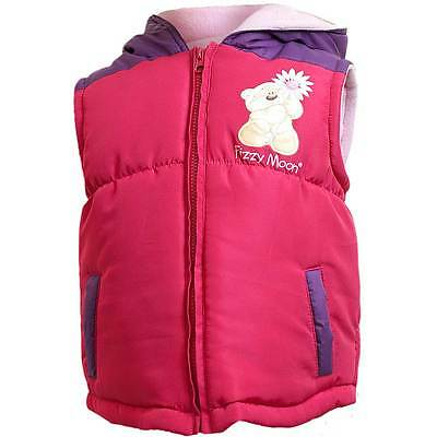 Girls Fizzy Moon Padded Quilted Hooded Zip Up Gilet Bodywarmer Pink Purple 2-6yr