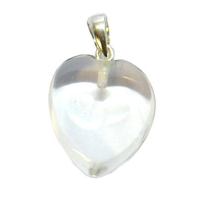 Small Clear Quartz Love Heart Tumbled Crystal Pendant Gift for Healing & Power