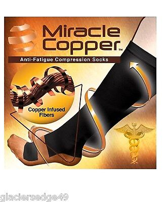 """NEW"" Miracle Copper Socks Anti Fatigue Compression Socks UNISEX L/XL Size"