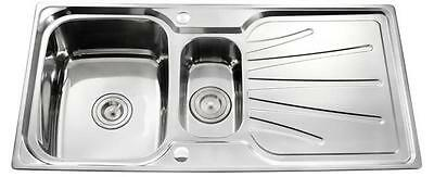 New 1.5 Bowl Reversible Stainless Steel Kitchen Sink With Waste Plumbing Kit