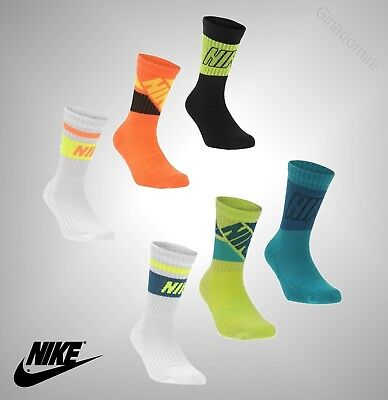 3 Pack Kids Boys Genuine Nike Fly Sports Casual Patterned Crew Socks Size C9-12