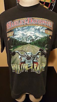 Vintage 90s 1991 Harley Davidson Motorcycle Holoubek Follow Leader T-Shirt Rock