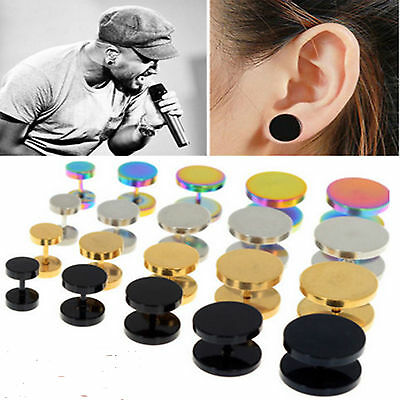 P 1Pair 2PCS Unisex Mens Barbell Punk Gothic Stainless Steel Ear Studs Earrings