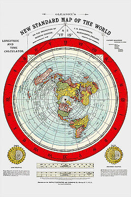 "Flat Earth Map - 2  Gleason's New Standard Maps Of The World - Large 24"" x 36"""