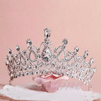 Wedding Bridal Princess Austrian Stunning Crystal Tiara Hair Crown Veil Headband