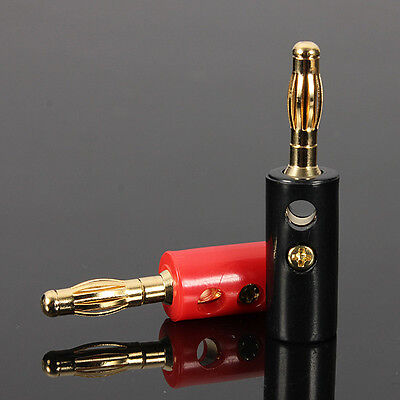 2 pcs - Home Stereo Receiver Speaker Jack Plug in - Banana Plugs red black GOLD