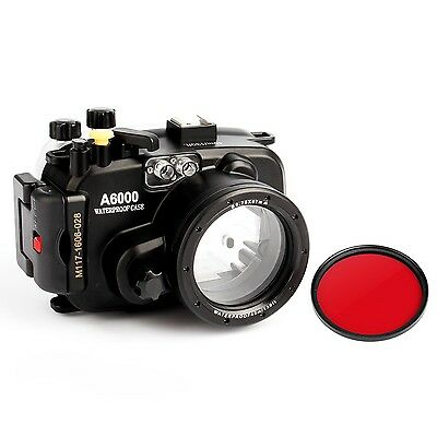 Sony A6000 (16-50) 130ft Underwater waterproof  Camera Housing case + Red filter