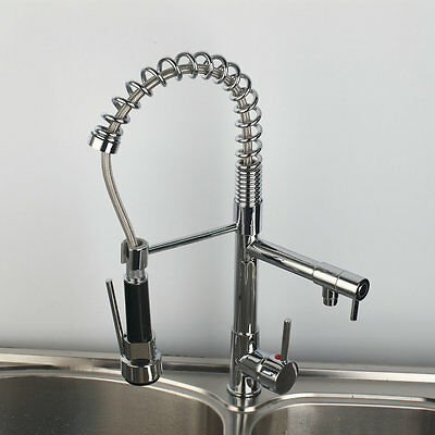 US-W Kitchen Basin Sink Swivel Spout Faucet Mixer Pull Down Tap Chrome Finish