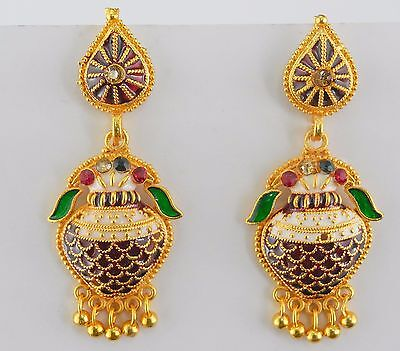 Ethnic Traditional Indian Gold Plated Bollywood Jewelry Jhumka Jhumki Earrings