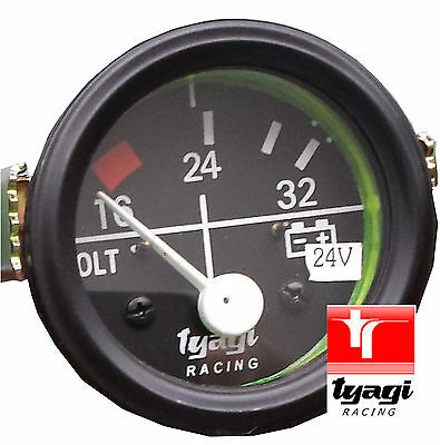 "2"" Car Universal 16-32V Voltmeter Clock Black Chrome Bezel 24V 52MM Dial Gauge"