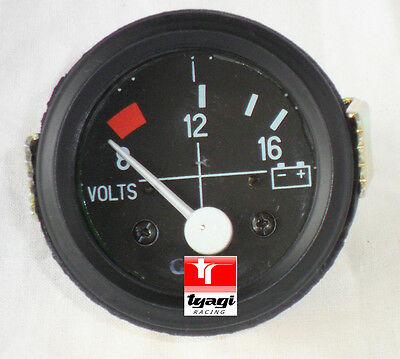 "2"" Vintage Car Universal 8-16 Voltmeter Clock Black Chrome Bezel 12V Dial Gauge"