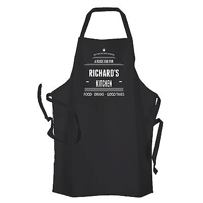Personalised Black Mens/ Womens Kitchen Cooking Apron