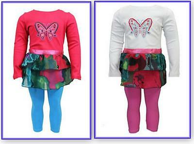 new Girls leggings butterfly  tunic top outfit set age 2-3 3-4 4-5 5-6 years