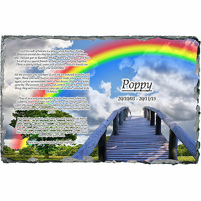 RAINBOW BRIDGE Pet Dog / Cat Memorial Slate Plaque - Personalised!