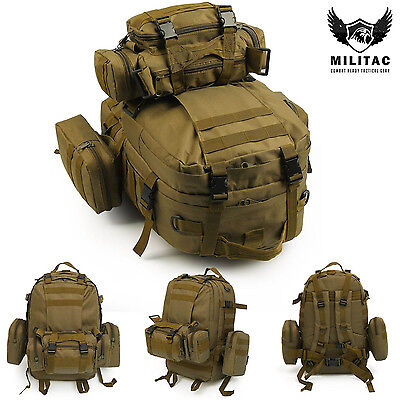 50L Tan Tactical Molle Assault Backpack / Military Rucksack Hiking bag