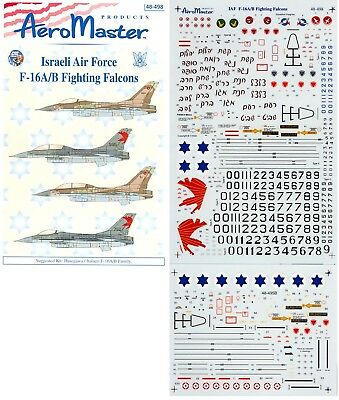 Aeromaster 48-498 - Decals 1/48 - Israeli Air Force F-16A/b Fighting Falcons