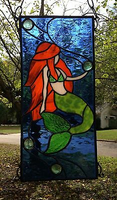 Mermaid Stained Glass Window Panel Large Suncatcher 18x8