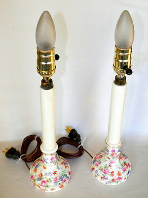 "Vintage Pair Of 1930'S Czecoslovakian Chintz 14"" Candlestick Lamps"