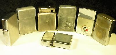 Vintage Lot Of 7 1940's to 1960's Lighters Assorted Brands Advertising  See Me