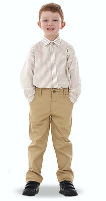 Boys Chino Trousers Blue 100% Cotton Navy Stone Adjustable Waist Pants