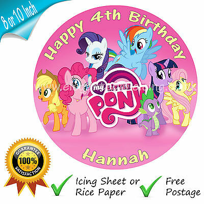 My Little Pony Round Edible Printed Birthday Cake Topper  Personalised