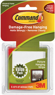Command Medium Picture Hanging Strips White 6 Sets/Pkg 17204